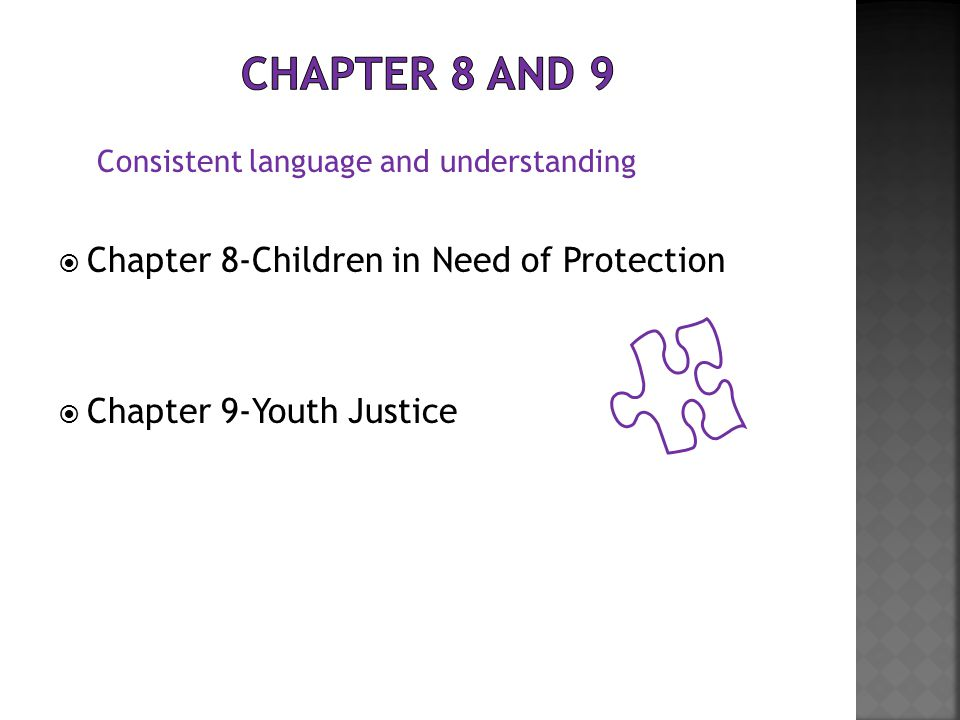  Chapter 8-Children in Need of Protection  Chapter 9-Youth Justice Consistent language and understanding