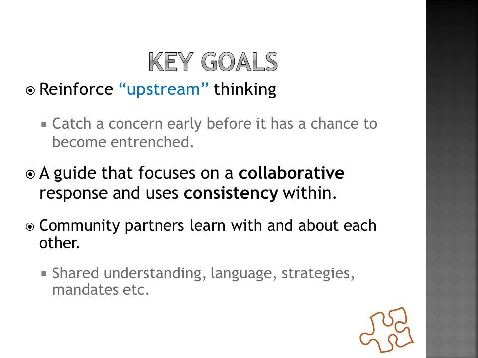 """ Reinforce """"upstream"""" thinking  Catch a concern early before it has a chance to become entrenched.  A guide that focuses on a collaborative respons"""
