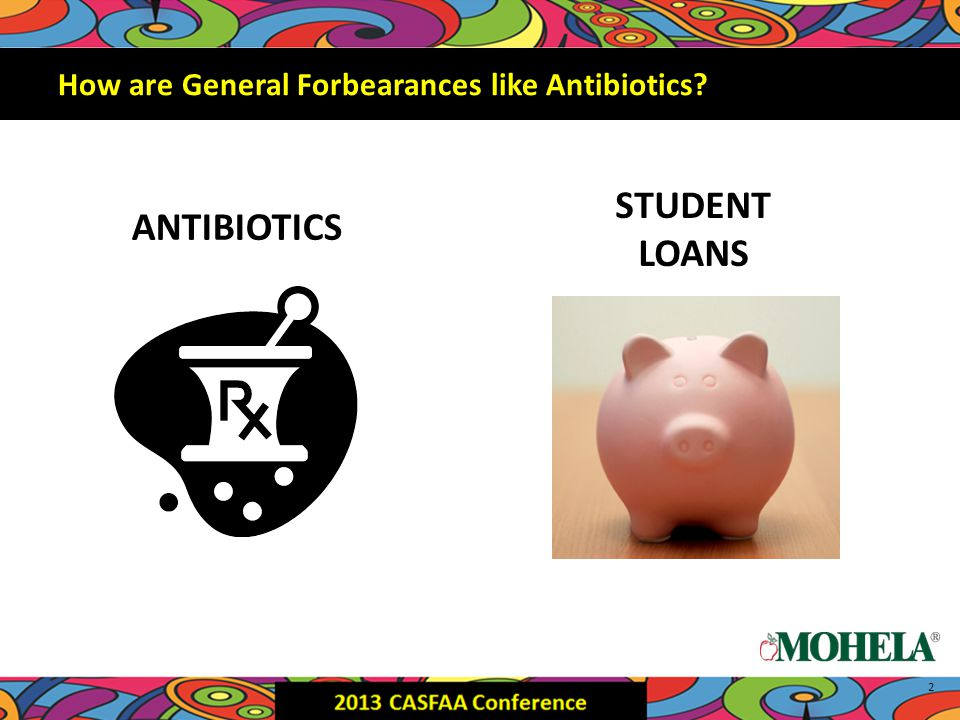 STUDENT LOANS 2 How are General Forbearances like Antibiotics