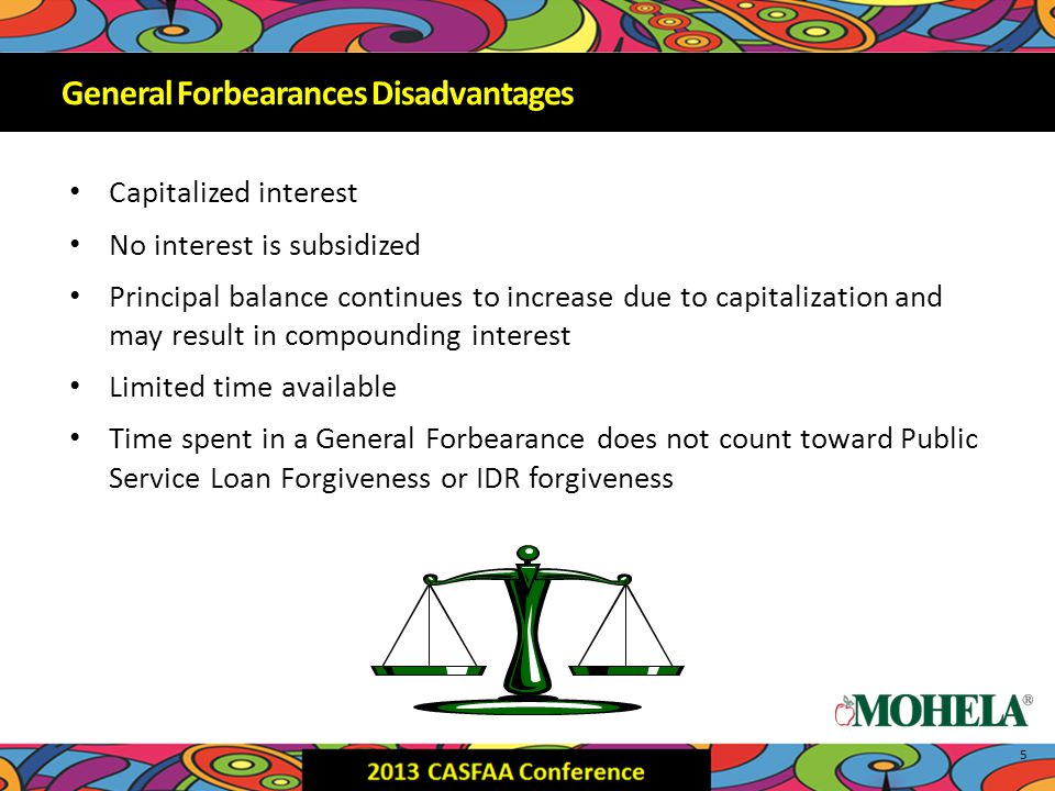 Capitalized interest No interest is subsidized Principal balance continues to increase due to capitalization and may result in compounding interest Limited time available Time spent in a General Forbearance does not count toward Public Service Loan Forgiveness or IDR forgiveness 5 General Forbearances Disadvantages
