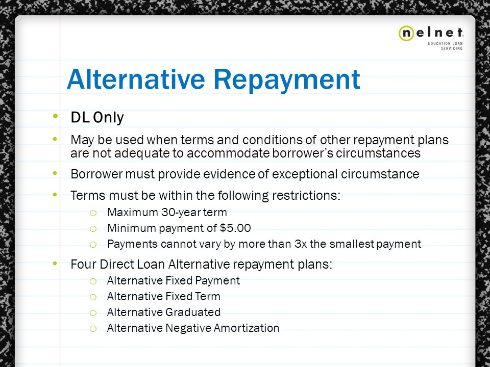 Alternative Repayment DL Only May be used when terms and conditions of other repayment plans are not adequate to accommodate borrower's circumstances Borrower must provide evidence of exceptional circumstance Terms must be within the following restrictions: o Maximum 30-year term o Minimum payment of $5.00 o Payments cannot vary by more than 3x the smallest payment Four Direct Loan Alternative repayment plans: o Alternative Fixed Payment o Alternative Fixed Term o Alternative Graduated o Alternative Negative Amortization