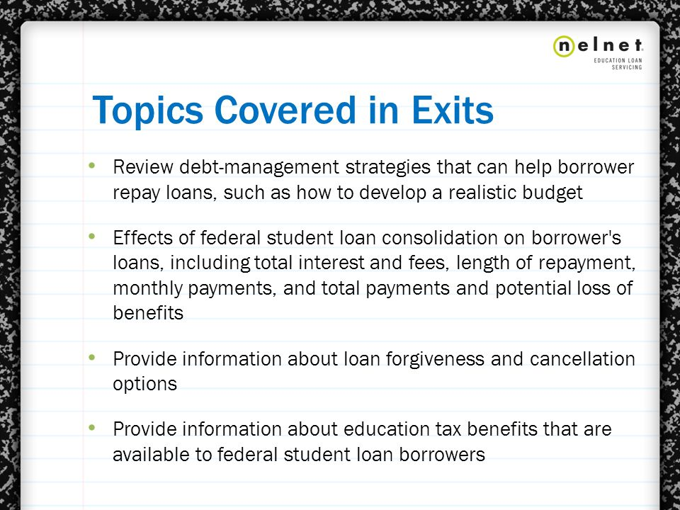 Eligible Loans ICR – All Direct Loans are eligible except parent PLUS Loans and pre- 7/1/2006 Direct Plus Consolidation Loans – Direct Consolidation Loans made on/after 7/1/2006 that repaid parent PLUS loans are eligible IBR – All Direct and FFEL Program loans except parent Plus loans and Consolidation Loans that repaid parent PLUS loans Pay As You Earn – All Direct Loans are eligible except parent PLUS loans and Consolidation Loans that repaid parent PLUS loans