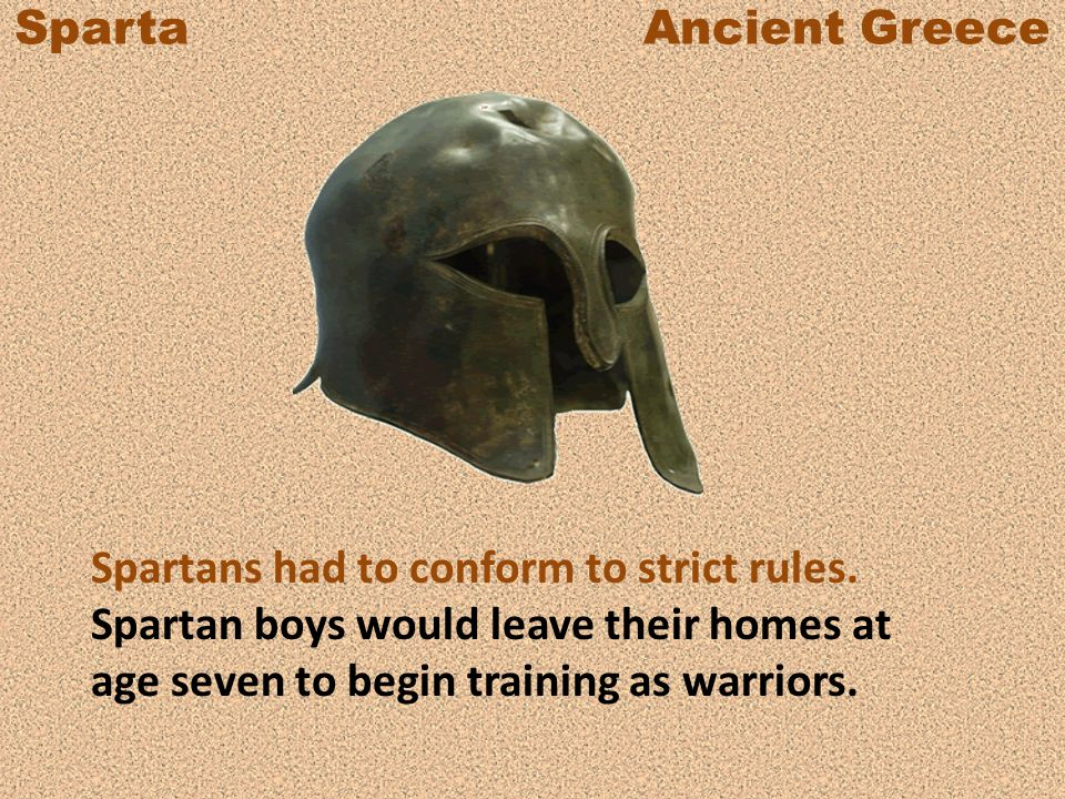 Sparta Ancient Greece The Spartans forced helots to farm the land the helots once owned, but the helots had to provide half of their harvest to Sparta.