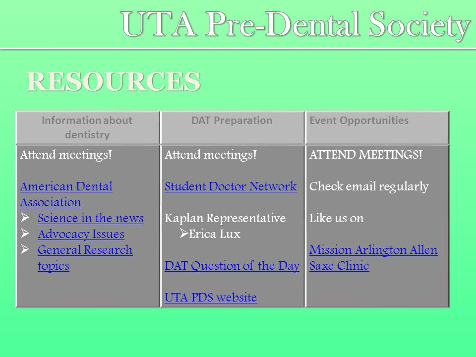 RESOURCES Information about dentistry DAT PreparationEvent Opportunities Attend meetings.
