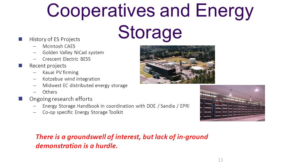 Cooperatives and Energy Storage History of ES Projects – McIntosh CAES – Golden Valley NiCad system – Crescent Electric BESS Recent projects – Kauai PV firming – Kotzebue wind integration – Midwest EC distributed energy storage – Others Ongoing research efforts – Energy Storage Handbook in coordination with DOE / Sandia / EPRI – Co-op specific Energy Storage Toolkit There is a groundswell of interest, but lack of in-ground demonstration is a hurdle.