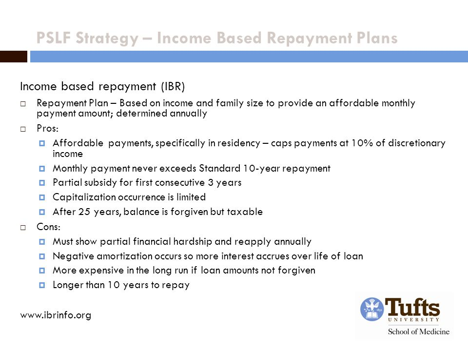 PSLF Strategy – Income Based Repayment Plans Income based repayment (IBR)  Repayment Plan – Based on income and family size to provide an affordable monthly payment amount; determined annually  Pros:  Affordable payments, specifically in residency – caps payments at 10% of discretionary income  Monthly payment never exceeds Standard 10-year repayment  Partial subsidy for first consecutive 3 years  Capitalization occurrence is limited  After 25 years, balance is forgiven but taxable  Cons:  Must show partial financial hardship and reapply annually  Negative amortization occurs so more interest accrues over life of loan  More expensive in the long run if loan amounts not forgiven  Longer than 10 years to repay www.ibrinfo.org