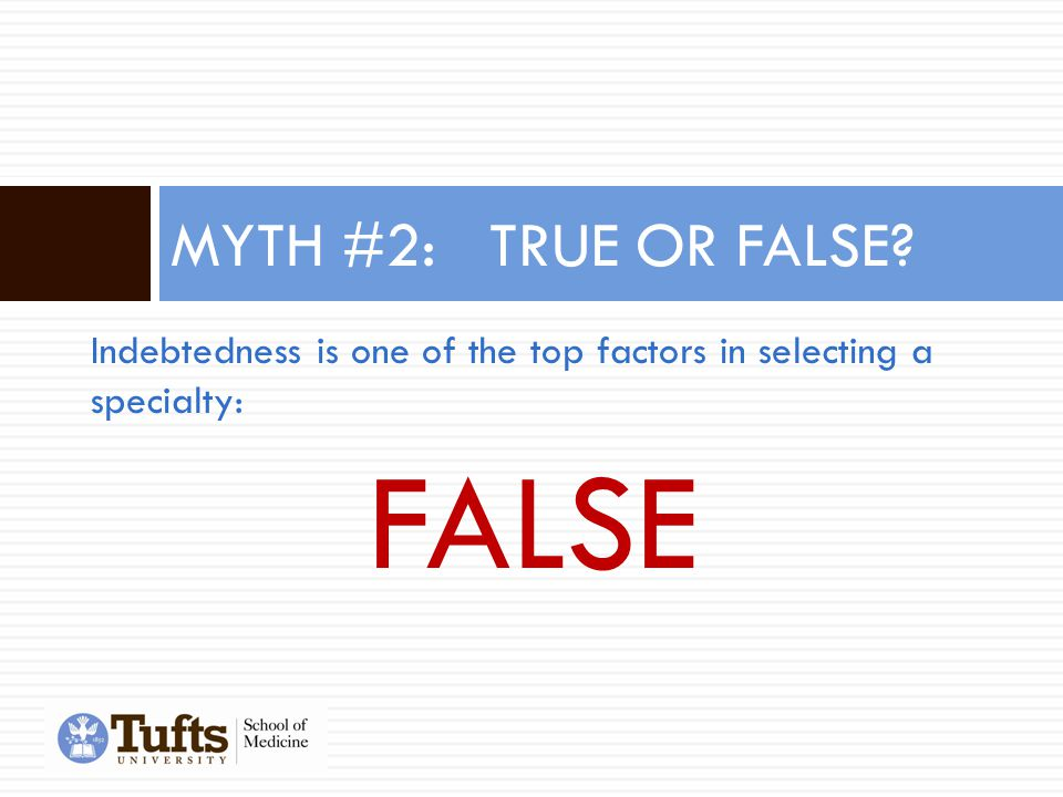 Indebtedness is one of the top factors in selecting a specialty: FALSE MYTH #2: TRUE OR FALSE?