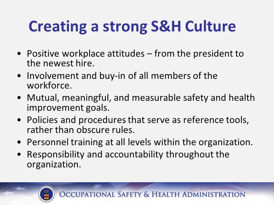 OSHA Safety and Health Program Management Guidelines (1/26/89) Management Commitment Employee Involvement Worksite Analysis Hazard Prevention / Control Training (Evaluation / Improvement)