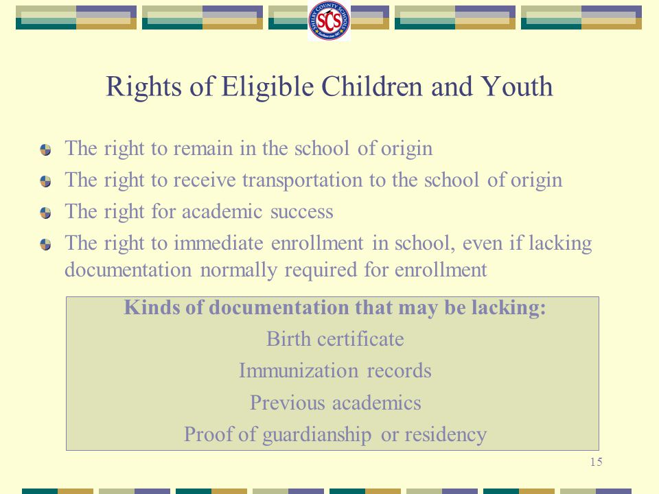Rights of Eligible Children and Youth The right to remain in the school of origin The right to receive transportation to the school of origin The righ