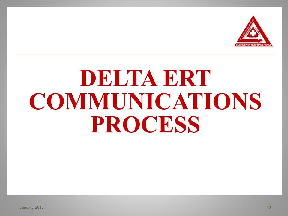 DELTA ERT COMMUNICATIONS PROCESS 10January 2015