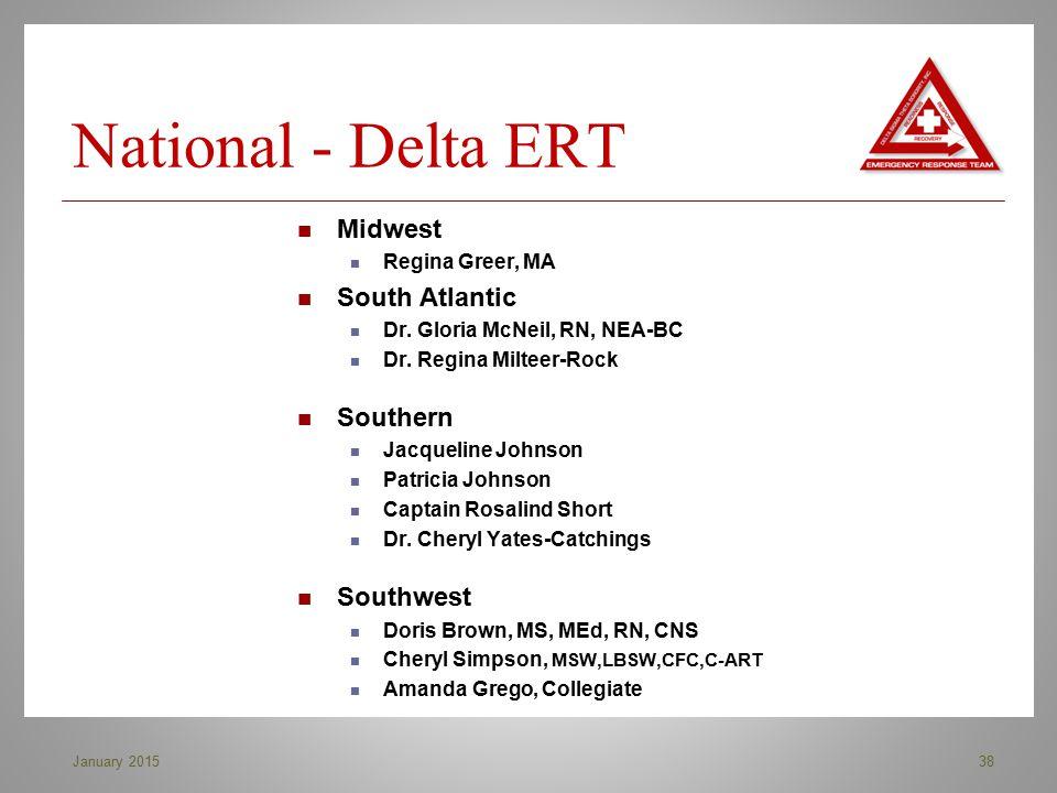 National - Delta ERT 38January 2015 Midwest Regina Greer, MA South Atlantic Dr. Gloria McNeil, RN, NEA-BC Dr. Regina Milteer-Rock Southern Jacqueline