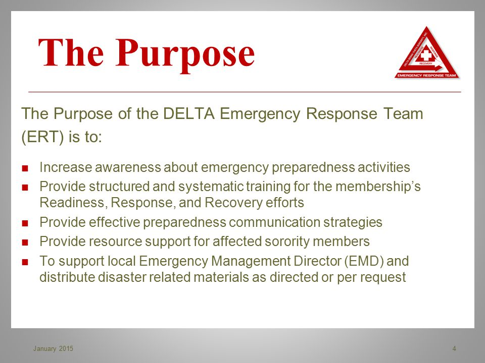 The Purpose of the DELTA Emergency Response Team (ERT) is to: Increase awareness about emergency preparedness activities Provide structured and system