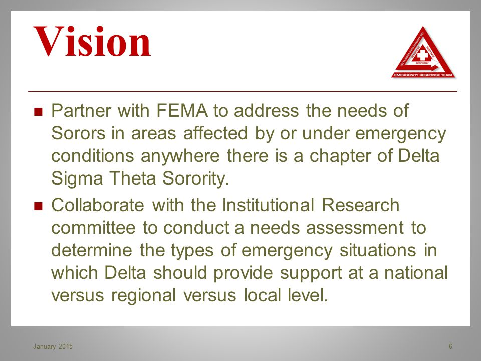 Partner with FEMA to address the needs of Sorors in areas affected by or under emergency conditions anywhere there is a chapter of Delta Sigma Theta S
