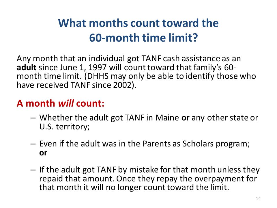 What months count toward the 60-month time limit.