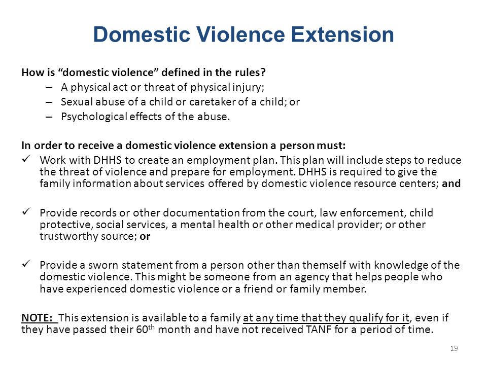 Domestic Violence Extension How is domestic violence defined in the rules.