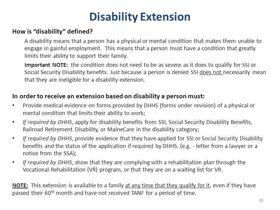 Disability Extension How is disability defined.