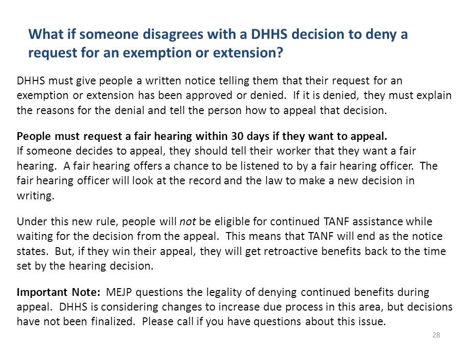 What if someone disagrees with a DHHS decision to deny a request for an exemption or extension.