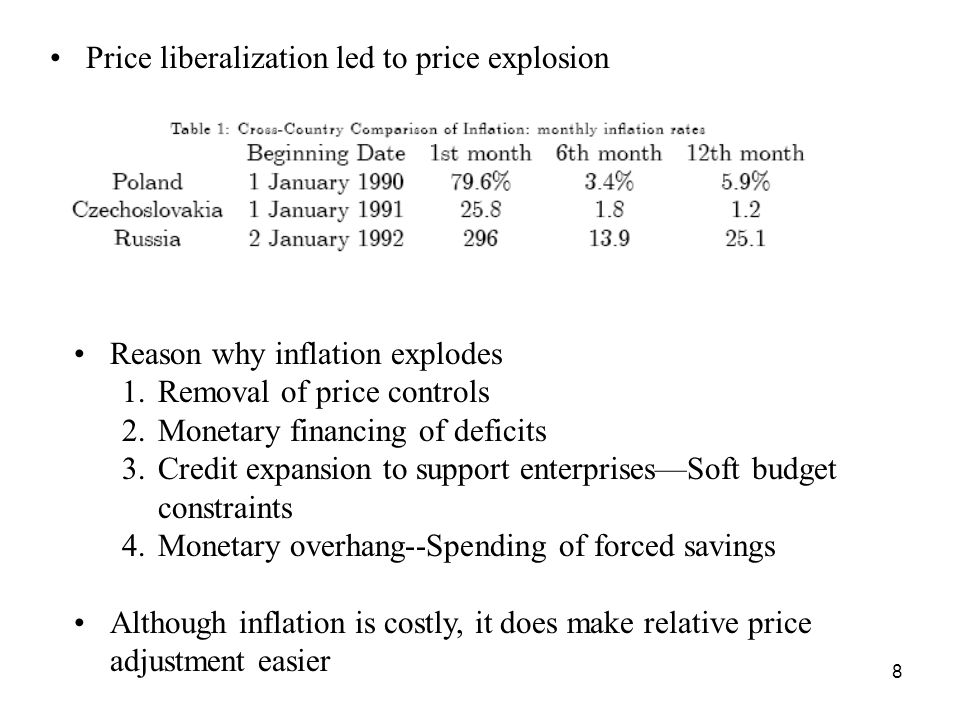 8 Price liberalization led to price explosion Reason why inflation explodes 1.Removal of price controls 2.Monetary financing of deficits 3.Credit expansion to support enterprises—Soft budget constraints 4.Monetary overhang--Spending of forced savings Although inflation is costly, it does make relative price adjustment easier