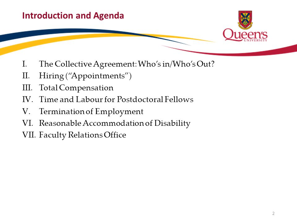Introduction and Agenda I.The Collective Agreement: Who's in/Who's Out.