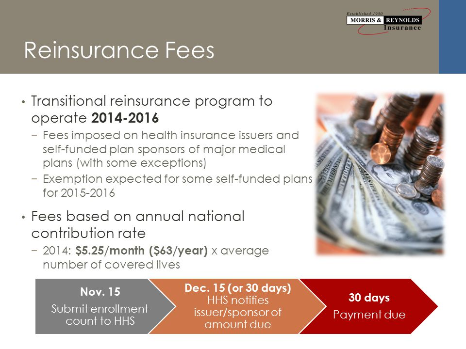 Reinsurance Fees Transitional reinsurance program to operate 2014-2016 − Fees imposed on health insurance issuers and self-funded plan sponsors of major medical plans (with some exceptions) − Exemption expected for some self-funded plans for 2015-2016 Fees based on annual national contribution rate − 2014: $5.25/month ($63/year) x average number of covered lives Nov.
