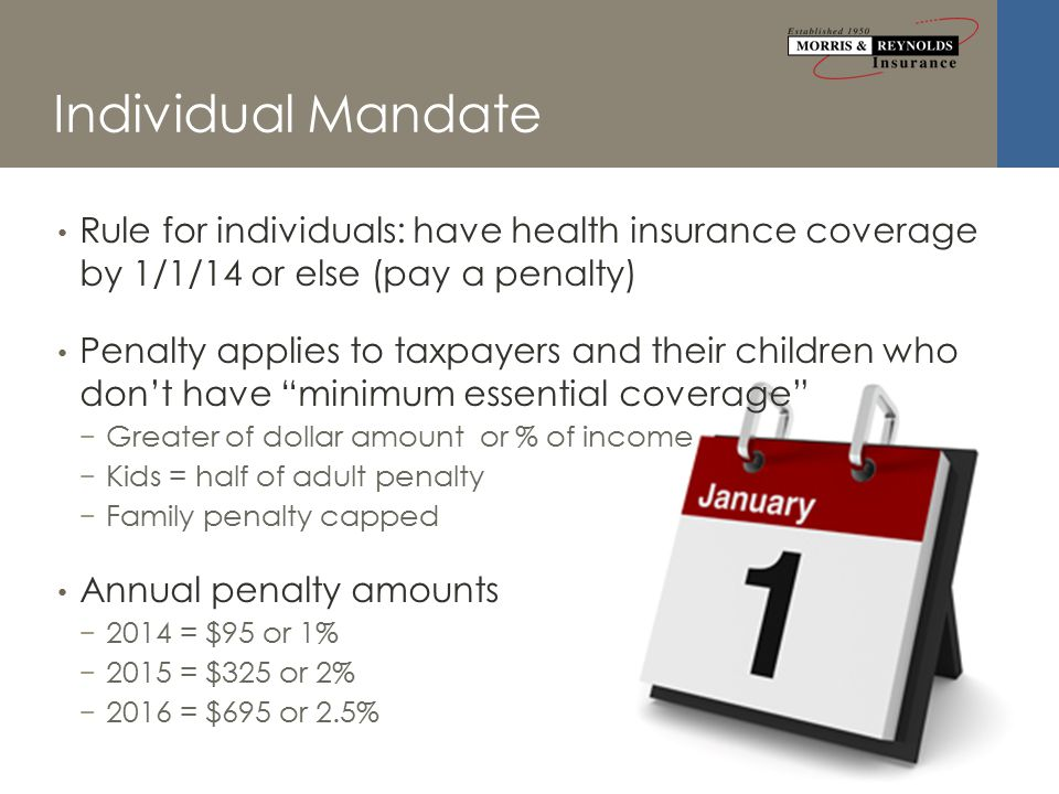Individual Mandate Rule for individuals: have health insurance coverage by 1/1/14 or else (pay a penalty) Penalty applies to taxpayers and their children who don't have minimum essential coverage − Greater of dollar amount or % of income − Kids = half of adult penalty − Family penalty capped Annual penalty amounts − 2014 = $95 or 1% − 2015 = $325 or 2% − 2016 = $695 or 2.5%