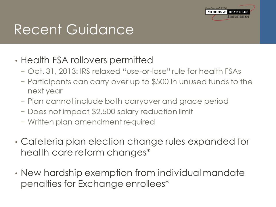Recent Guidance Health FSA rollovers permitted − Oct.