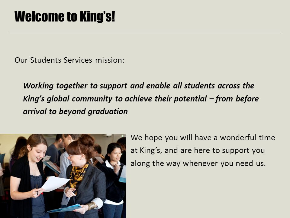 Welcome to King's.