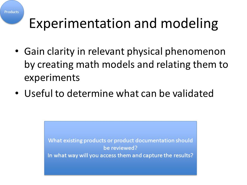 Experimentation and modeling Gain clarity in relevant physical phenomenon by creating math models and relating them to experiments Useful to determine what can be validated Products What existing products or product documentation should be reviewed.
