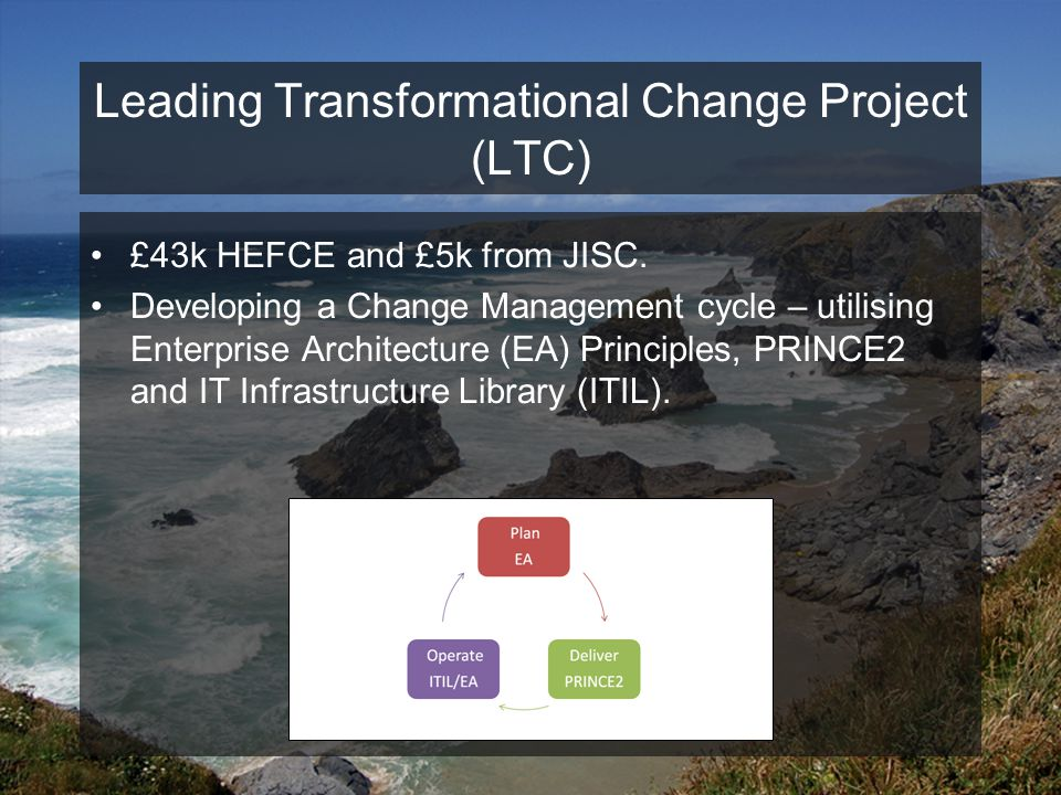 Leading Transformational Change Project (LTC) £43k HEFCE and £5k from JISC.