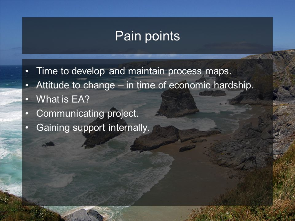 Pain points Time to develop and maintain process maps.