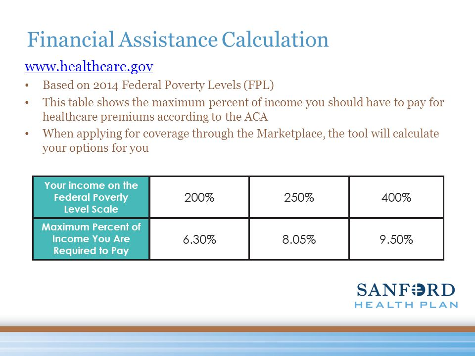 Financial Assistance Calculation www.healthcare.gov Based on 2014 Federal Poverty Levels (FPL) This table shows the maximum percent of income you should have to pay for healthcare premiums according to the ACA When applying for coverage through the Marketplace, the tool will calculate your options for you