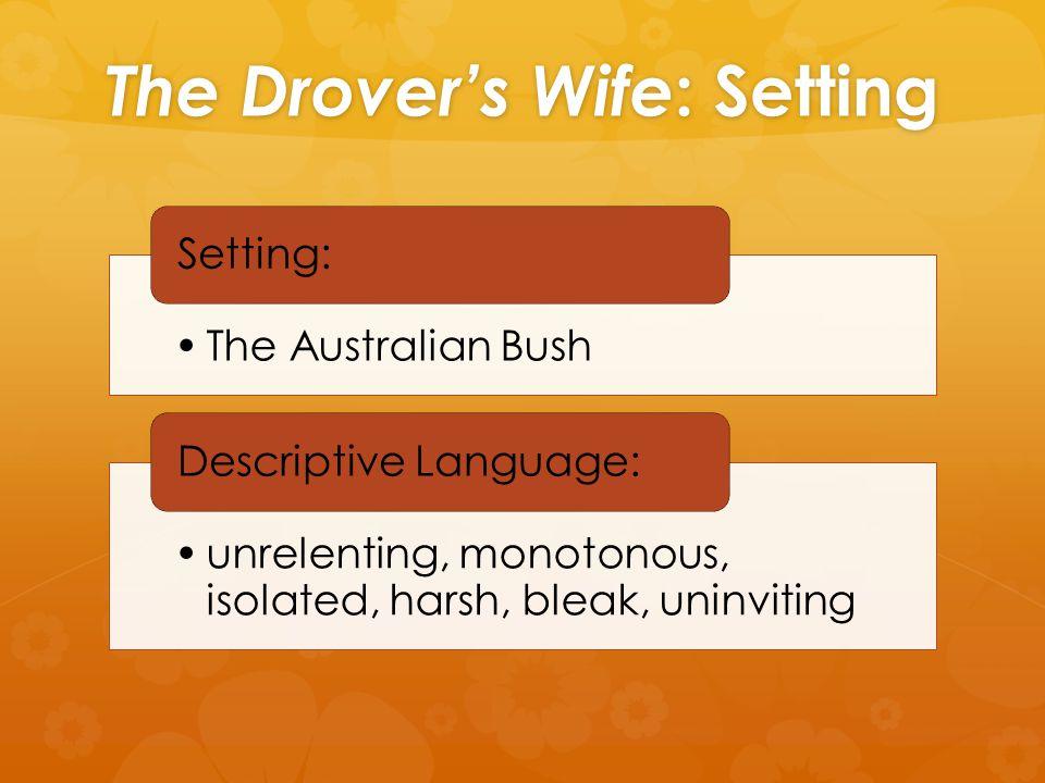 The Drover's Wife : Setting The Australian Bush Setting: unrelenting, monotonous, isolated, harsh, bleak, uninviting Descriptive Language: