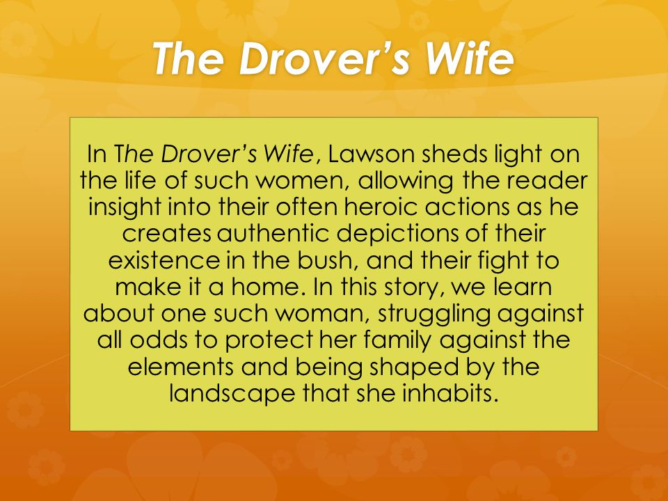 The Drover's Wife In The Drover's Wife, Lawson sheds light on the life of such women, allowing the reader insight into their often heroic actions as he creates authentic depictions of their existence in the bush, and their fight to make it a home.