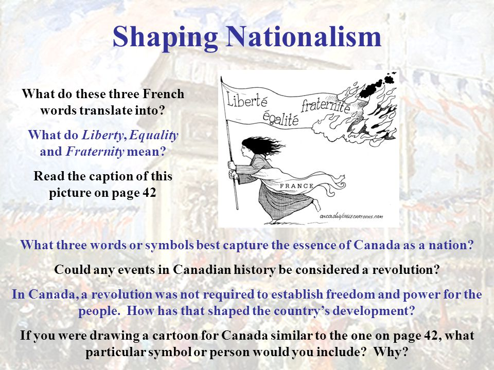 Shaping Nationalism What do these three French words translate into? What do Liberty, Equality and Fraternity mean? Read the caption of this picture o