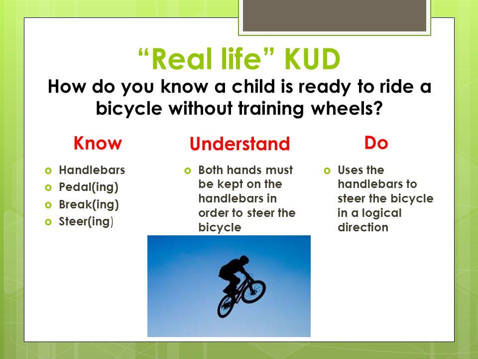 KUD… What?? K.U.D.! K- Know U- Understand D- Do 1a, 1c, 1e, 1f