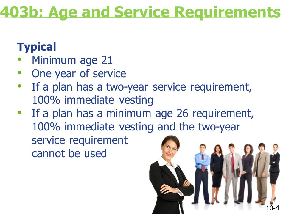403b: Age and Service Requirements Typical Minimum age 21 One year of service If a plan has a two-year service requirement, 100% immediate vesting If a plan has a minimum age 26 requirement, 100% immediate vesting and the two-year service requirement cannot be used 10-4