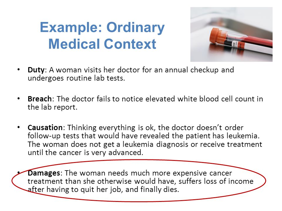 Example: Ordinary Medical Context Duty: A woman visits her doctor for an annual checkup and undergoes routine lab tests.