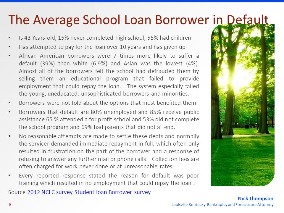 Nick Thompson Louisville Kentucky Bankruptcy and Foreclosure Attorney The Average School Loan Borrower in Default Is 43 Years old, 15% never completed high school, 55% had children Has attempted to pay for the loan over 10 years and has given up African American borrowers were 7 times more likely to suffer a default (39%) than white (6.9%) and Asian was the lowest (4%).