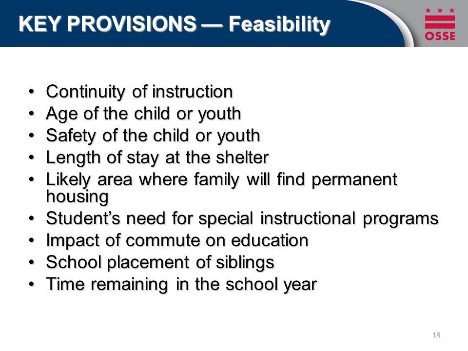 Continuity of instructionContinuity of instruction Age of the child or youthAge of the child or youth Safety of the child or youthSafety of the child