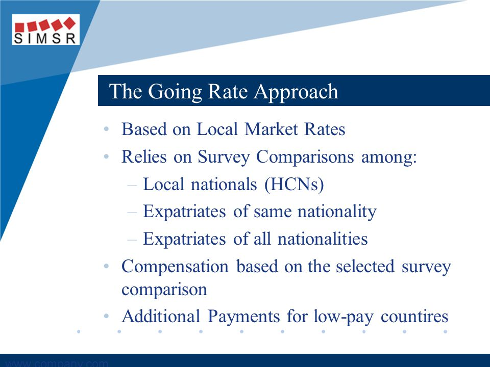 Company LOGO www.company.com The Going Rate Approach Based on Local Market Rates Relies on Survey Comparisons among: –Local nationals (HCNs) –Expatria