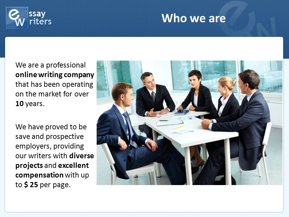 Who we are We are a professional online writing company that has been operating on the market for over 10 years. We have proved to be save and prospec