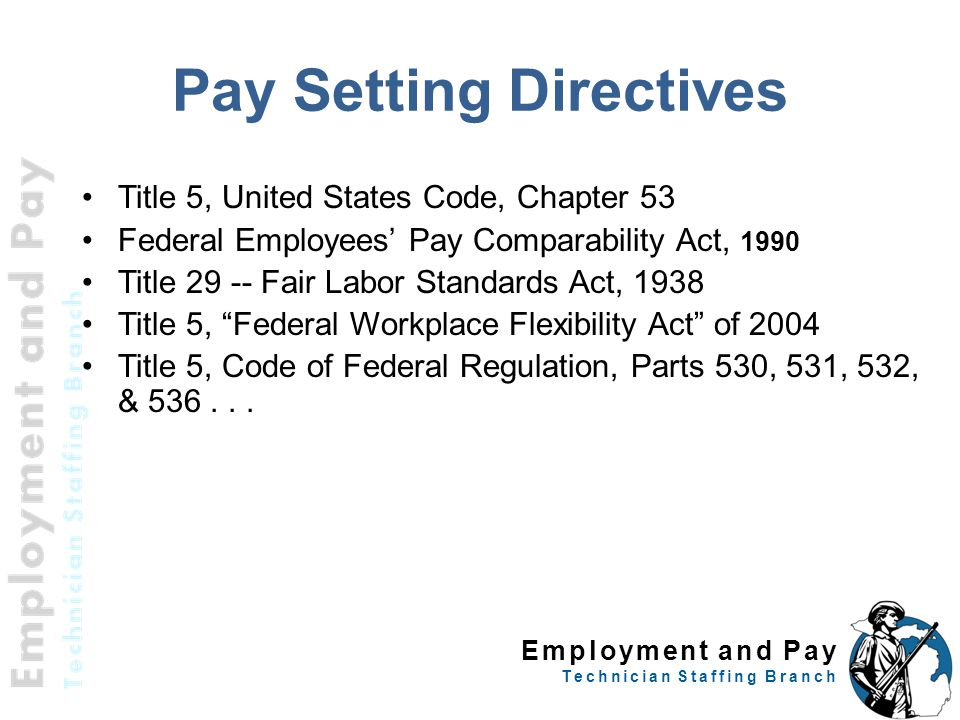 Employment and Pay Technician Staffing Branch Pay Setting Directives Title 5, United States Code, Chapter 53 Federal Employees' Pay Comparability Act, 1990 Title 29 -- Fair Labor Standards Act, 1938 Title 5, Federal Workplace Flexibility Act of 2004 Title 5, Code of Federal Regulation, Parts 530, 531, 532, & 536...