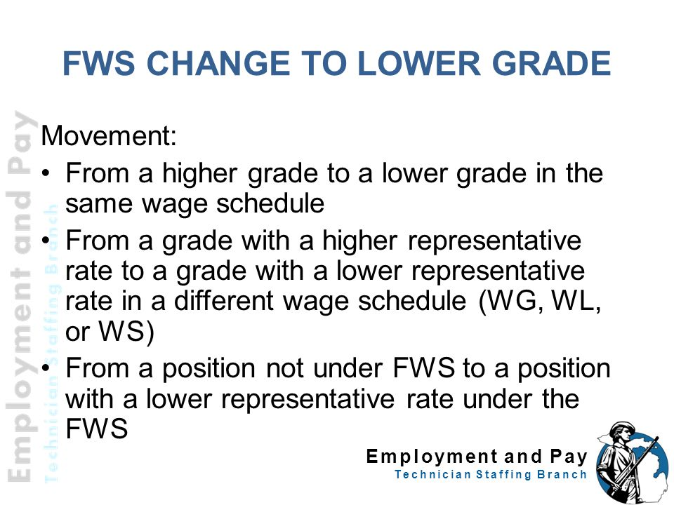 Employment and Pay Technician Staffing Branch FWS CHANGE TO LOWER GRADE Movement: From a higher grade to a lower grade in the same wage schedule From a grade with a higher representative rate to a grade with a lower representative rate in a different wage schedule (WG, WL, or WS) From a position not under FWS to a position with a lower representative rate under the FWS 22