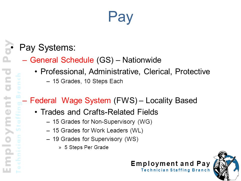 Employment and Pay Technician Staffing Branch Pay Pay Systems: –General Schedule (GS) – Nationwide Professional, Administrative, Clerical, Protective –15 Grades, 10 Steps Each –Federal Wage System (FWS) – Locality Based Trades and Crafts-Related Fields –15 Grades for Non-Supervisory (WG) –15 Grades for Work Leaders (WL) –19 Grades for Supervisory (WS) »5 Steps Per Grade
