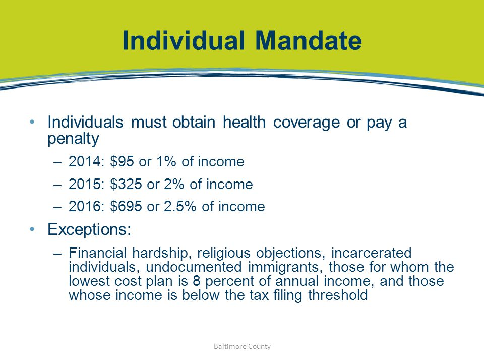 Individual Mandate Individuals must obtain health coverage or pay a penalty –2014: $95 or 1% of income –2015: $325 or 2% of income –2016: $695 or 2.5%
