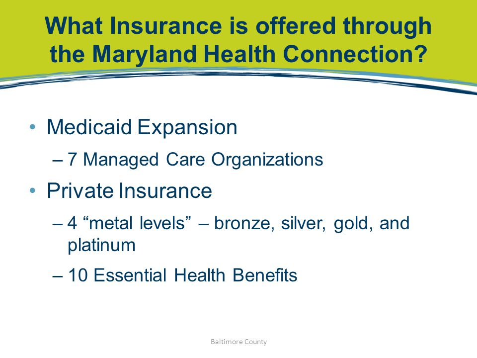 What Insurance is offered through the Maryland Health Connection.