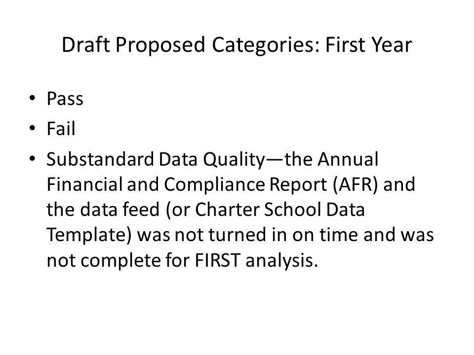 Draft Proposed Categories–Second Year Superior is the highest possible score.