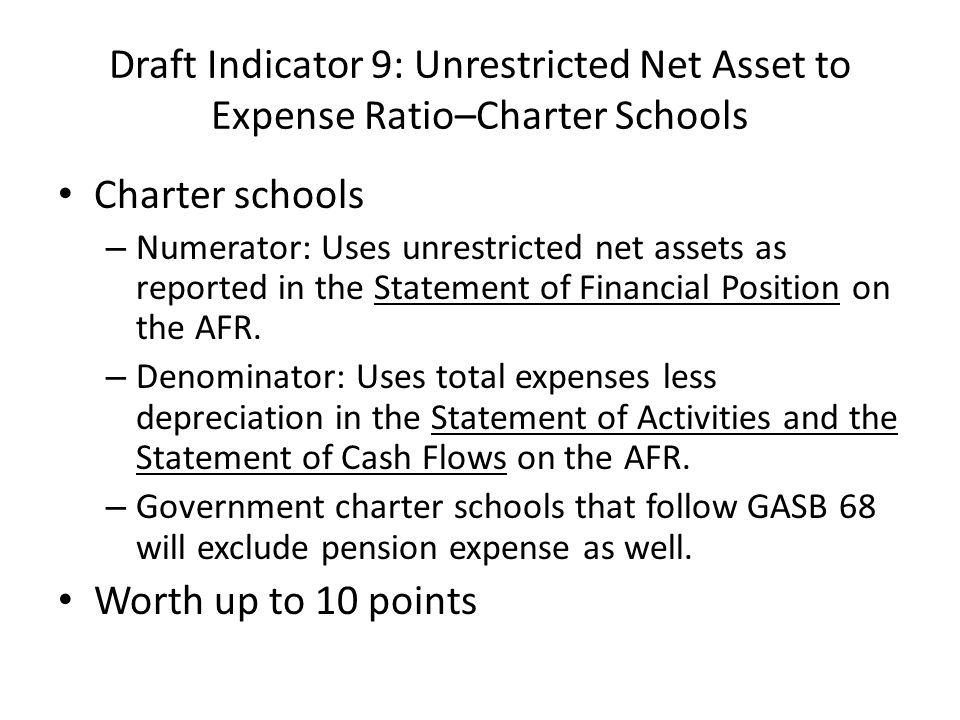 Draft Indicator 9: Unrestricted Net Asset to Expense Ratio–Charter Schools Charter schools – Numerator: Uses unrestricted net assets as reported in the Statement of Financial Position on the AFR.