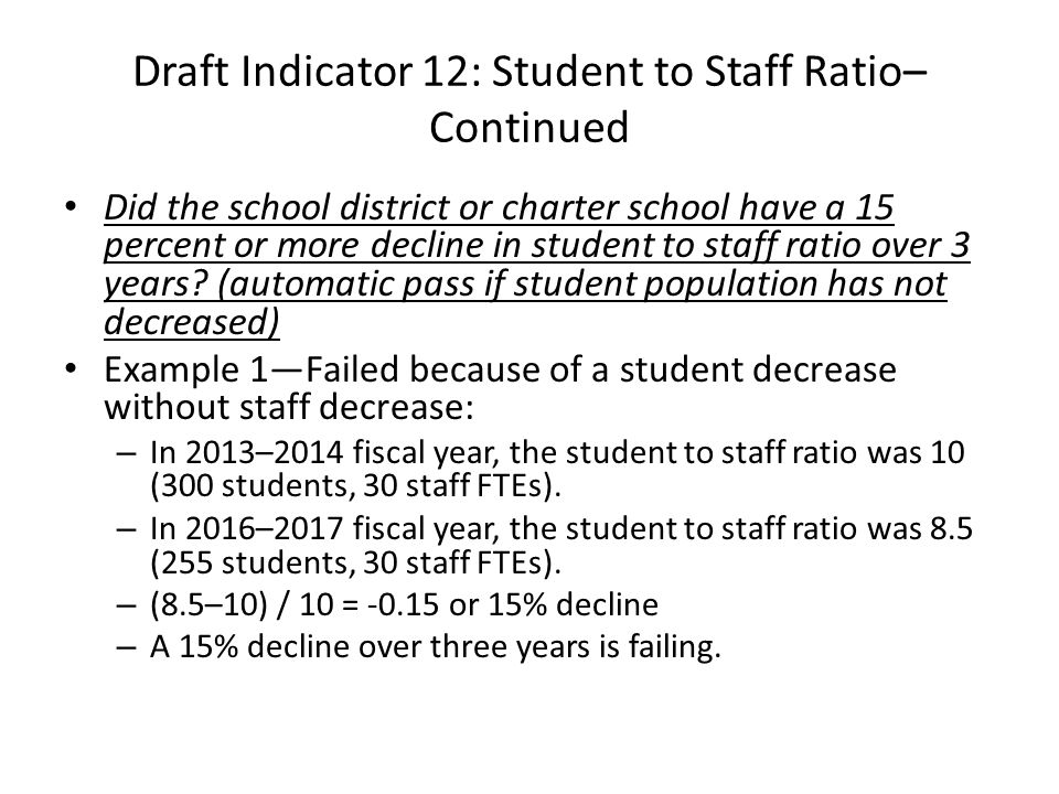 Draft Indicator 12: Student to Staff Ratio– Continued Did the school district or charter school have a 15 percent or more decline in student to staff ratio over 3 years.