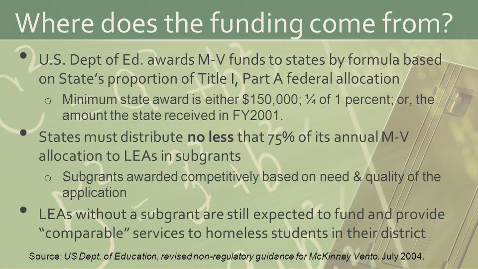 Where does the funding come from. U.S. Dept of Ed.